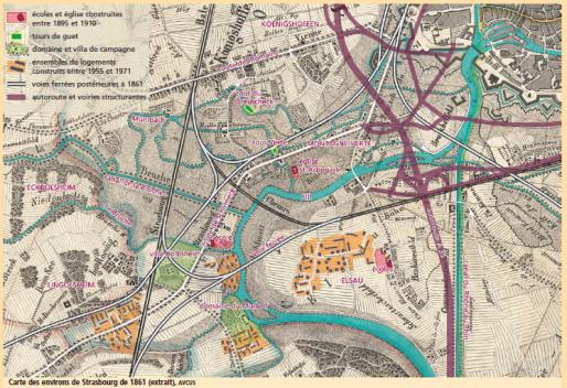 L'entrée du quartier a été bouleversé par l'arrivée de l'autoroute et des échangeurs routiers en 1965 (Document CUS)