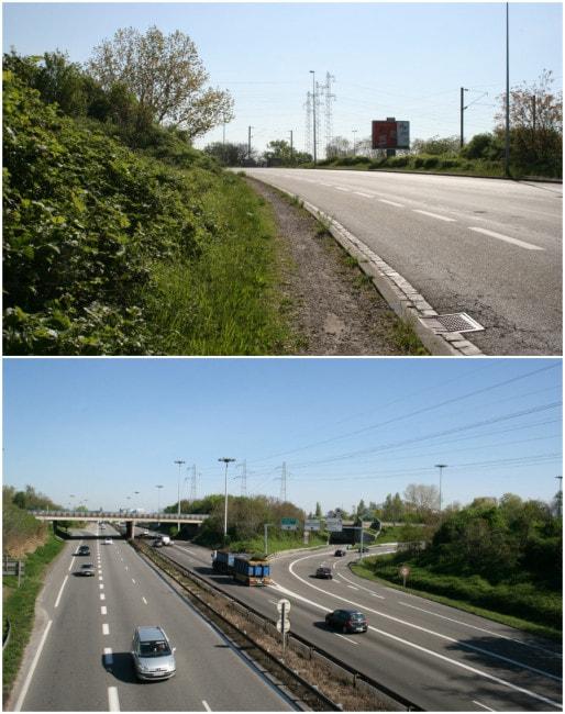 A mi-parcours, la rue de la Montagne-Verte surplombe l'A35 (Photos MM / Rue89 Strasbourg)