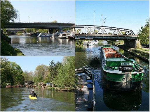 Sous la rue de la Montagne-Verte, le canal du Rhône-au-Rhin voit passer kayaks et péniches (Photos MM / Rue89 Strasbourg)