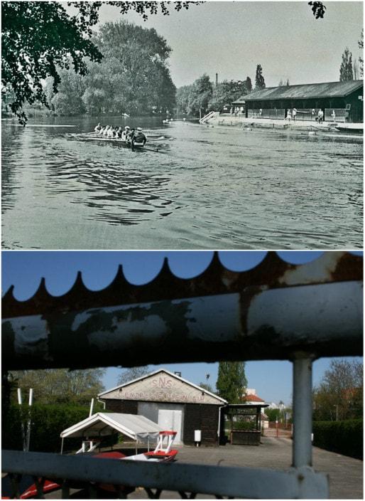 Aviron et bains du Herrenwasser (à droite) vers 1930 (DR) - hangar à bateaux le long de la piste cyclable actuelle (Photo MM / Rue89 Strasbourg)