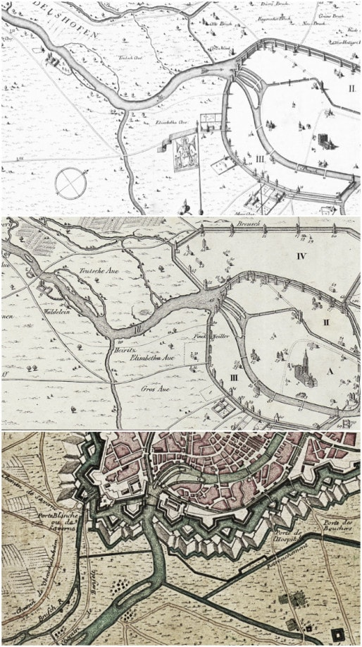"""Plans des XIIIème, XVème et XVIIIèmes siècles (Captures page Wikipédia """"Enceintes de Strasbourg"""")"""