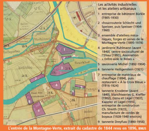 Artisans et industries dans le secteur de la rue de la Montagne Verte fin XIXème (Document CUS)