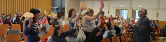 Le vote des nouveaux statuts, permettant de refuser l'accès plus facilement aux membres, a visuellement divisé l'assemblée (Photo ASO / Rue89 Strasbourg / cc)