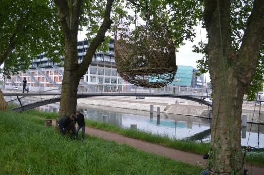 Les nids du Shadok, visibles et accessibles jusqu'au 18 mai. (photo ASO / Rue89 Strasbourg)