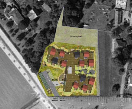 Les maisons individuelles sont reliées par des couloirs et des pièces communes de vie au centre (doc. remis)