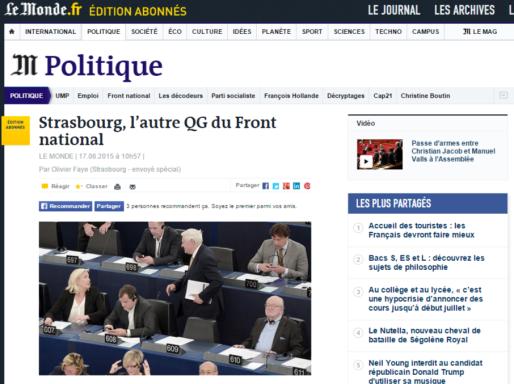 Beaucoup de tractations stratégiques du FN se déroulent à Strasbourg (capture d'écran)