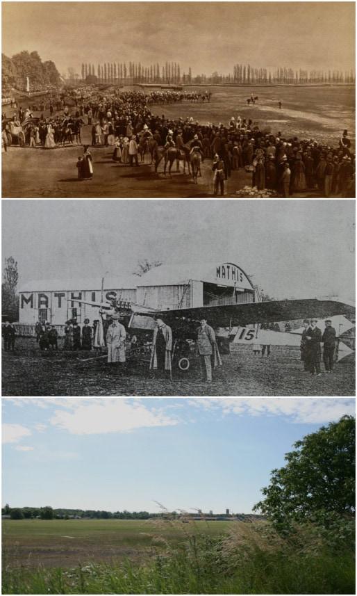 """Parade de Guillaume 1er au Polygone en 1877 (Doc. BNU) - Meeting aérien au Polygone en présence de l'industriel Mathis en 1910 (in """"Un village aux portes de Strasbourg"""", Coprur, 1996) - le terrain d'aviation de loisirs aujourd'hui (Photo MM / Rue89 Strasbourg)"""