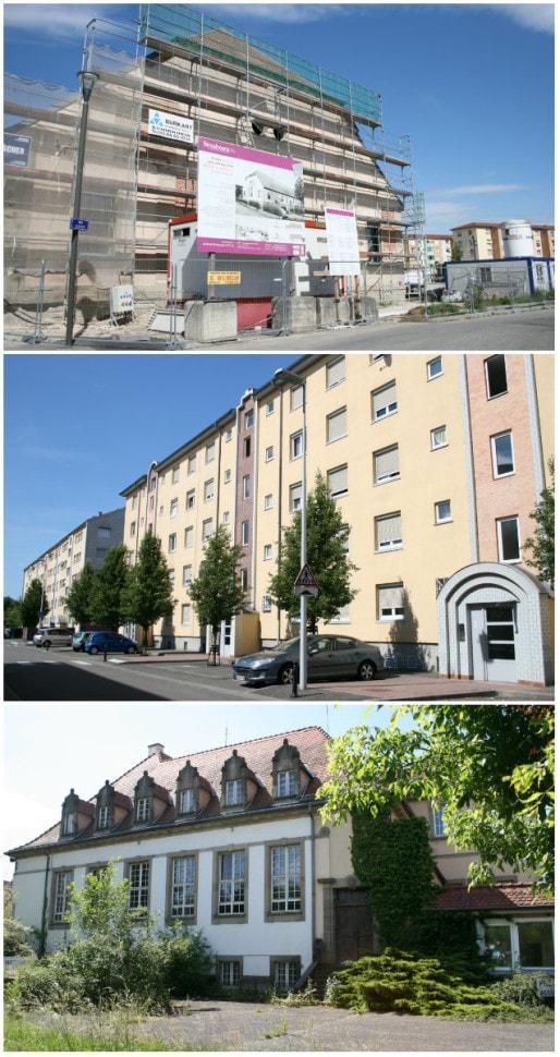 L'ancienne manège équestre militaire en cours de transformation en salle des fêtes - Le quartier d'habitat social Lyautey, à l'arrière de l'hôpital militaire - L'un des bâtiment de l'hôpital militaire, donnant sur la rue des Canonniers (Photos MM / Rue89 Strasbourg)