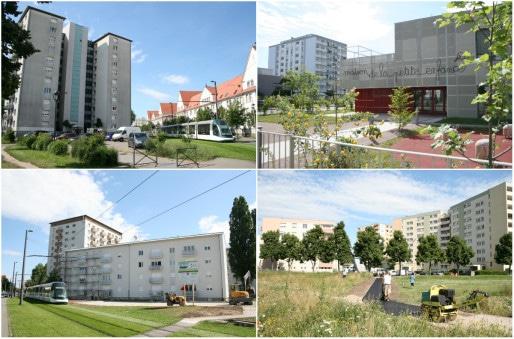 Avenue du Neuhof et alentours, dans le cadre de la rénovation urbaine : réhabilitation des espaces publics et des immeubles HLM et construction de nouveaux équipements, comme la maison de l'enfance ou l'espace culturel Django Reinhardt, allée Reuss (Photos MM / Rue89 Strasbourg)
