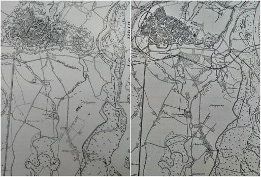 Plans de Strasbourg-sud en 1834 et 1883 (DR)
