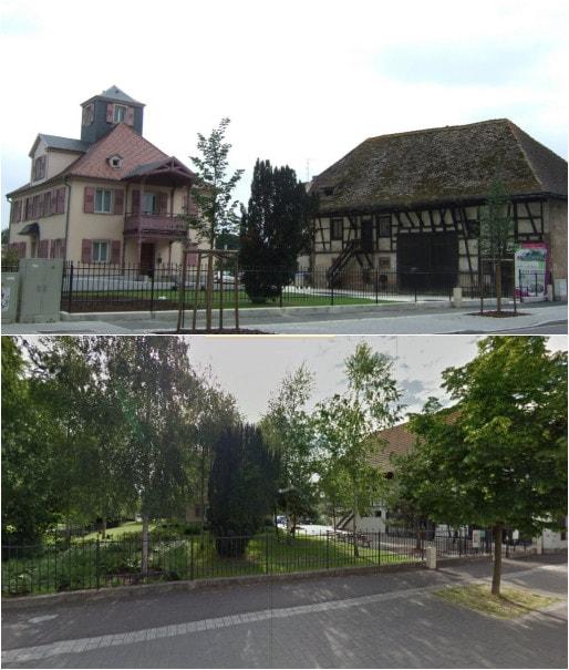 La villa Reuss et sa dépendance ont été rénovés pour y installer la mairie de quartier (Vues Google 2007 et 2015)