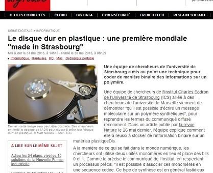 L'Université de Strasbourg invente le disque dur en plastique