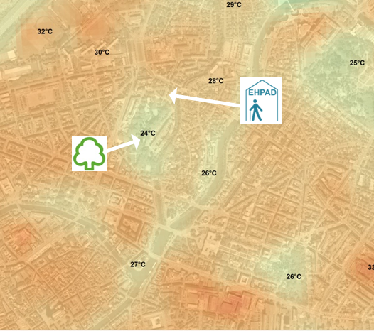 La maison de retraite de Bethesda est à quelques mètres du parc des Contades, l'un des endroits les plus frais de Strasbourg. (document ADEUS)