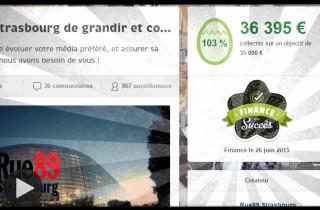 Capture d'écran de la page du projet de Rue89 Strasbourg sur Ulule