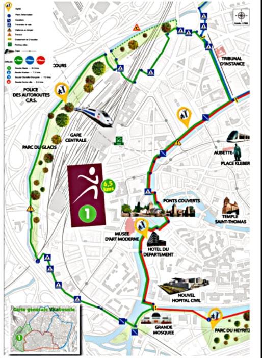 La boucle 1 de 6,2 kilomètres va de la place de Haguenau à la grande mosquée. (document Ville de Strasbourg)
