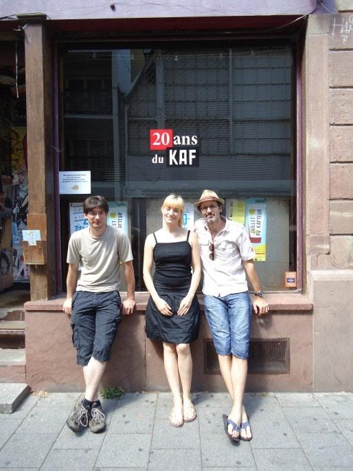 La petite équipe du Kafteur : Maxime Koegler, Ludivine Meyer et Jean-Luc Falbriard (Photo MB / Rue89 Strasbourg)