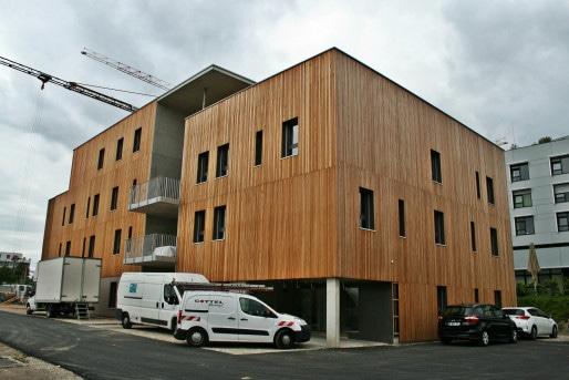 Au premier plan, les 4 logements en autopromotion du collectif E-Zéro (Photo MM / Rue89 Strasbourg)