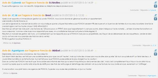 Exemples d'avis négatifs laissés sur le site allo-foncia.