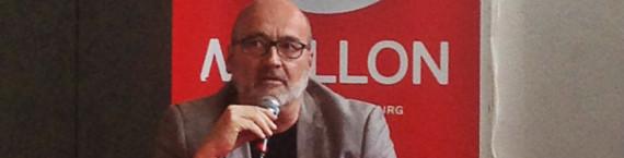 Frédéric Simon, nouveau directeur du théâtre du Maillon se considère comme le fils spirituel de Bernard Fleury. (photo JFG / Rue89 Strasbourg)