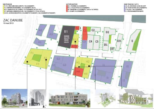 Plan et phasage du quartier Danube (Document Ville de Strasbourg)