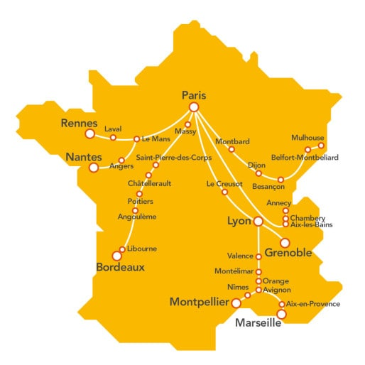 Les destinations de TGV pop. (document SNCF)