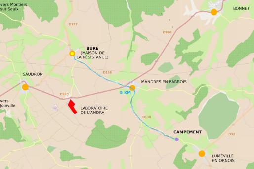 Vue du CIGEO, du camp et du village de Bure ( Source : VMC.CAMP )