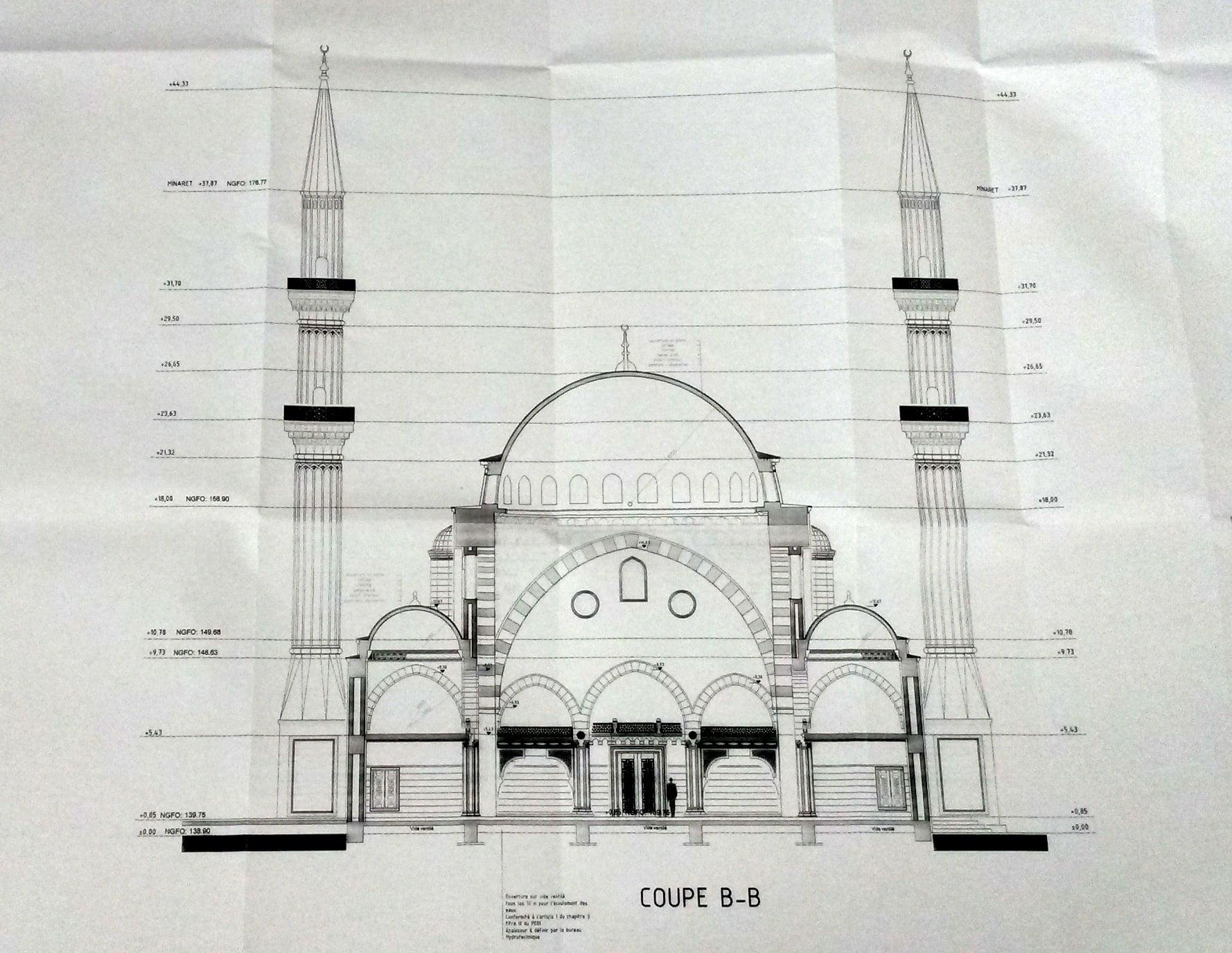 Future mosqu e de la meinau des colombages et deux minarets for Dessin de plan