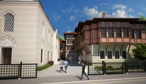 Dessin du future centre communautaire depuis la route de la Fédération. A gauche en blanc, l'arrière de la mosquée. A droite, les bâtiments annexes de style alsacien. (document remis)