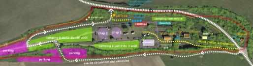 Plan du campement prévu du 1er au 10 août à Bure ( Source : VMC.CAMP )