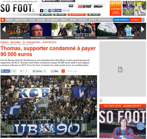 Thomas, fan du Racing Club de Strasbourg et vice-président des Ultra Boys, est condamné à payer 90 000 euros d'amence suite à une bagarre survenue en 2011.  (capture d'écran So Foot)