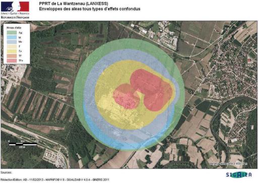 Zone de risques de l'entreprise Lanxess (Carte Prefecture du Bas-Rhin)