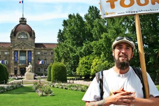 Gabriel Wetzer, guide des Free tours strasbourgeois (Photo MM / Rue89 Strasbourg)