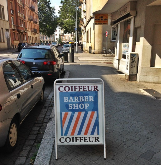A la Krutenau devant Men's hair studio depuis un an (photo JFG / Rue89 Strasbourg)