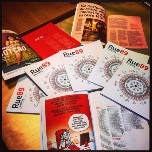 Le magazine collector des trois ans de Rue89 Strasbourg a été tiré à 2000 exemplaires (Photo JFG / Rue89 Strasbourg)