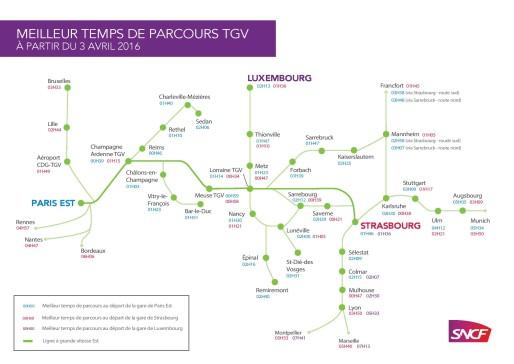 Les dessertes de la LGV Est-européenne (document SNCF)