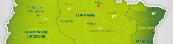 La grande région Alsace Lorraine Champagne Ardennes doit aller de la Seine au Rhin (carte préfecture du Bas-Rhin)