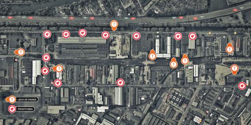 Carte des lieux de passe de la rue du Doubs (Credit Rue89Strasbourg)
