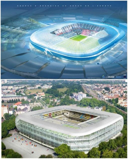 En haut, le projet d'Eurostadium, porté par le groupe Hammerson, en bas, le projet de la Ville - non-réalisé (DR)