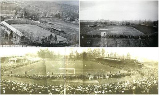 """La """"tribune assise"""" (1921) et la """"tribune debout"""" (1930) permettent d'accueillir jusqu'à 18 000 spectateurs par match (Doc. Wikipédia - """"Racing 100 ans"""")"""