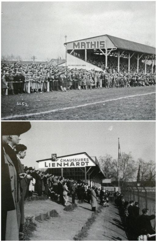 """La """"tribune assise"""", construire en 1921, est d'abord un support publicitaire pour les automobiles Mathis, sponsor du RCS, avant de faire la promotion des Chaussures Lienhardt (Doc. """"Racing 100 ans"""")"""