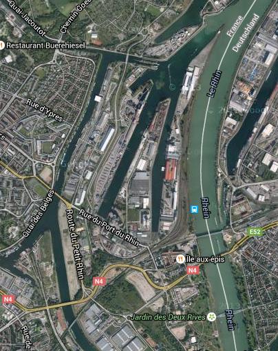 Nord de l'Île-aux-Epis, rue du Port-du-Rhin (Google map)