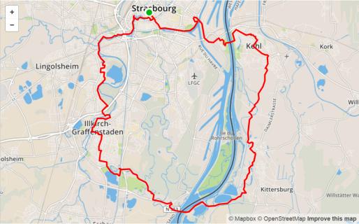 Une longue balade dans l'Eurométropole et en Allemagne (capture écran OpenStreetMap)
