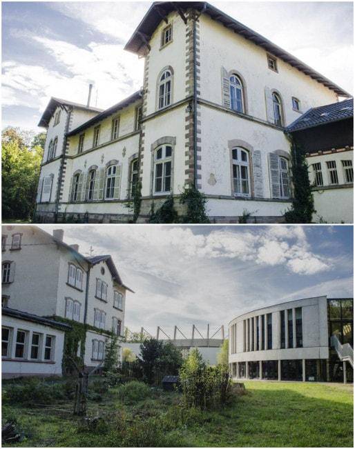 Ancien et nouveau bâtiments de l'Ecole d'instituteurs, avec vue sur les arcs stade et jardin partagé (Photos Quentin Bonvalot)
