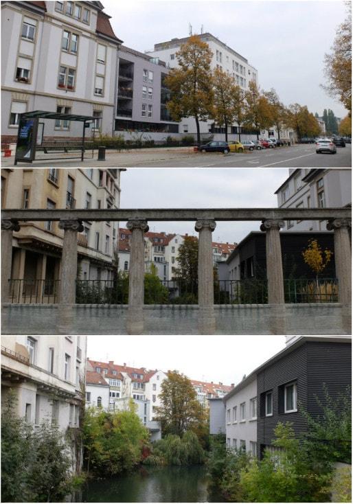 L'ancienne clinique Bethesda boulevard Jeacques-Preiss et la colonnade Beblo sur l'Aar (Photos MM / Rue89 Strasbourg)