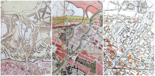 Plans du secteur Contades - le 1er, datant de 1750, montre l'île Sainte-Hélène traversée de bras de l'Ill ; le second reprend le plan Conrath de 1880, qui imaginait une île Sainte-Hélène aux rues rectilignes comme dans le reste de la Neustadt ; le 3ème, de 1932, entérine le tracé conforme au parcellaire des jardins d'antan, courbe et très différent des plans imaginés par les Allemands (Archives Strasbourg)