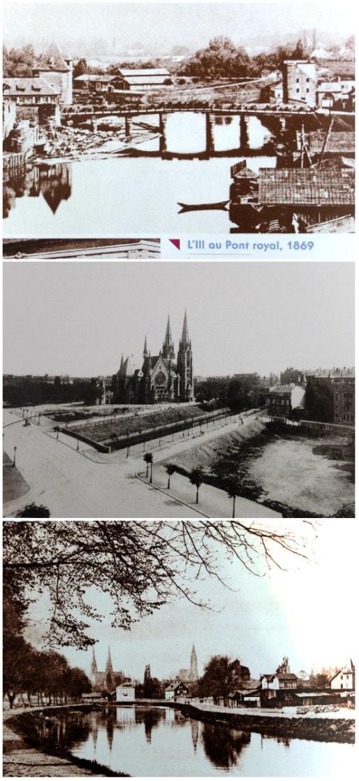 """Avant 1880, l'île abrite des chantiers navals et des jardins (Doc. """"Il était une fois Strasbourg, vestiges disparus"""", Roger Forst) ; vers 1900, construction progressive de l'axe Vosges-Forêt-Noire (Archives Strasbourg) ; le quai Müllenheim début XXème (Doc. Roger Forst)"""