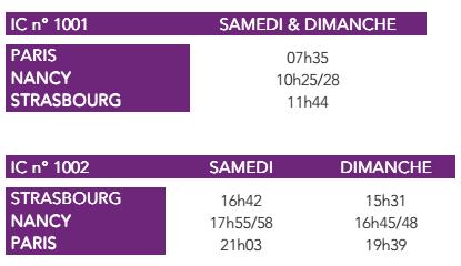 Les horaires des Intercités 100% Éco (doc SNCF)