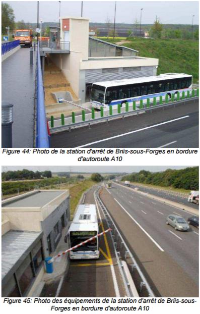 Des stations à portiques pour monter et descendre des cars (document enquête publique)