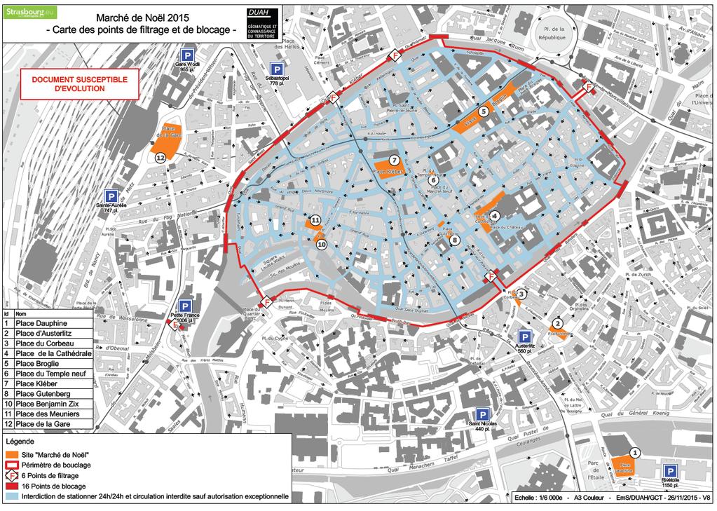 Carte du marche de noel strasbourg