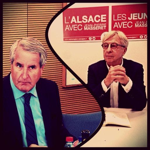 Philippe Richert (à g.) et Jean-Pierre Masseret (à d.) présidents de l'Alsace et de la Lorraine et adversaires pour les régionales. (photo JFG / Rue89 Strasbourg)